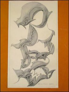 Fritz-Klee-original-Pastell-Zeichnung-v-1954-31-5x18cm