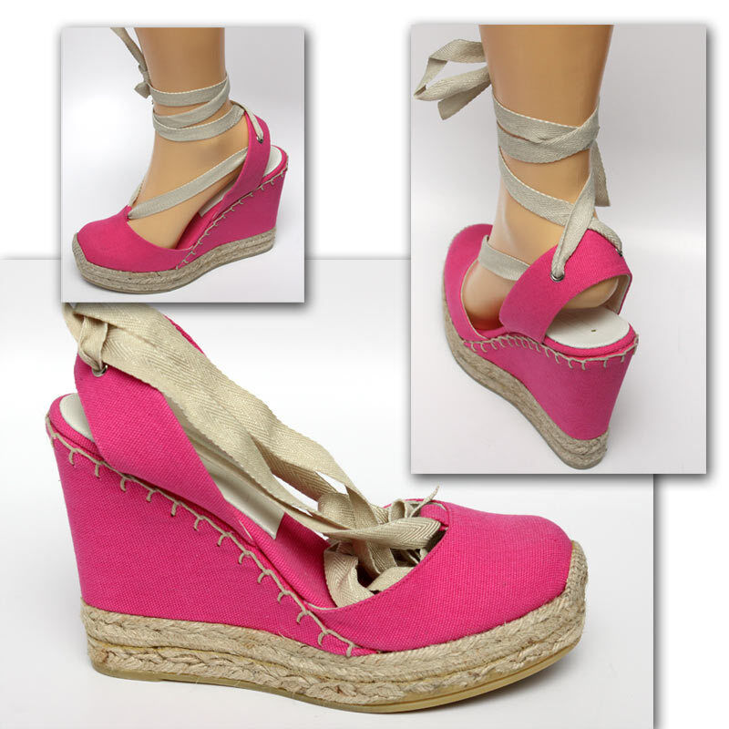295 RALPH LAUREN COLLECTION Hot Pink ESPADRILLE SHOES w  Price & Box (8.5)