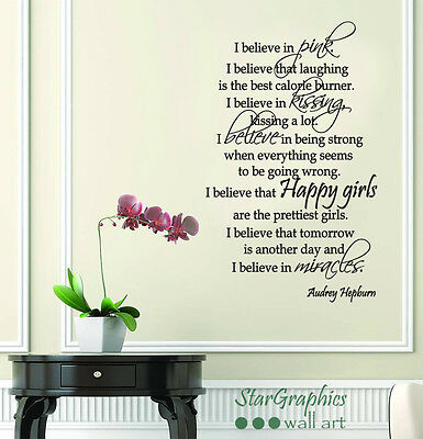 Audrey Hepburn I Believe In Pink Wall Art Quote Decal Sticker Mural