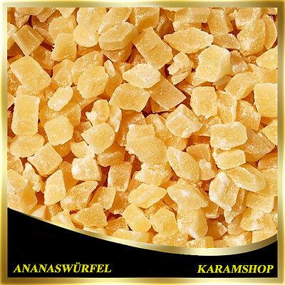 (10,48€/1Kg) Getrocknete Ananas Würfel-Ananas Stücke-Gezuckert-Kandierte-500g