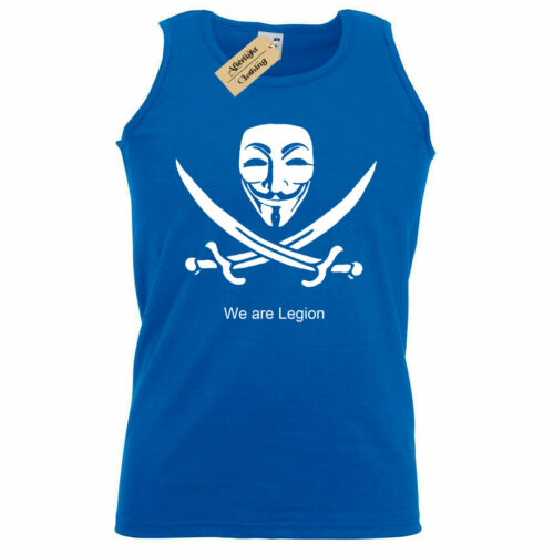 Mens We Are legion Anonymous T Shirt hacking computer hacker Tank Top Vest