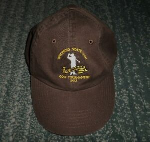 Details about Men's Brown WYOMING STATE GOLF OPEN 2013 Embroidered Hat,  Adjustable Strap, GUC