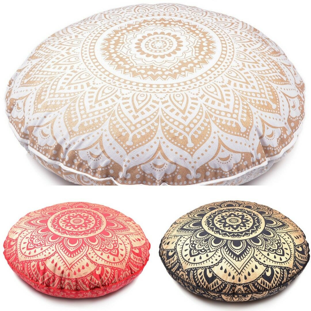 Large Round Mandala Ombre Floor Pillow Indian Tapestry Bohemian Pouf Cushion New