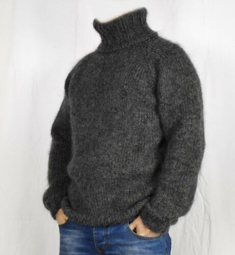 soft thick jumper Hand knitting 100/% WOOL pullover men sweater big turtleneck