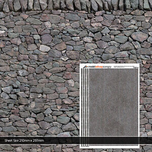5 x SHEETS DRY STONE WALL PAPER N GAUGE 2mm MODEL RAILWAY TX007-N