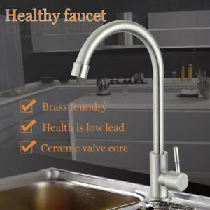 Stainless Steel Kitchen Sink Faucet Single Lever Brushed Nickel Cold Water Tap Ebay