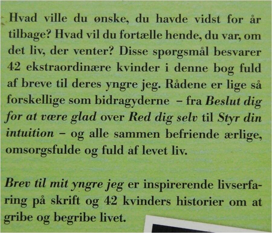 BREV TIL MIT YNGRE JEG, Red. Anne Marie Mygind & Mai