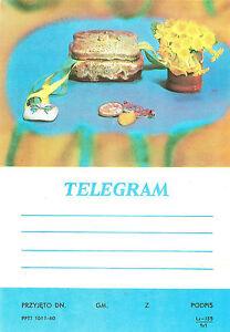 TELEGRAMME-POLOGNE-FLEURS-BIJOUX-CERAMIQUE-14-5-x-20-8cm