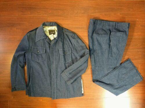 VTG 70s JCPenney Denim Blue Jean SUIT Set Pants Ja