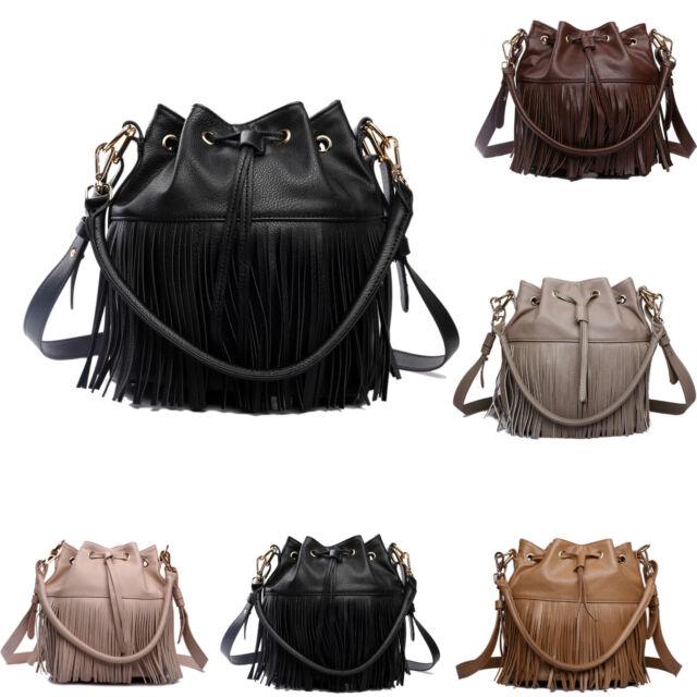 Ladies Leather Look Drawstring Fringe Tassel Bucket Shoulder Handbag