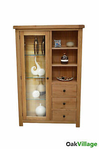 Image is loading Dorset-Oak-Display-Cabinet-Glass-Doors-Storage-Display-