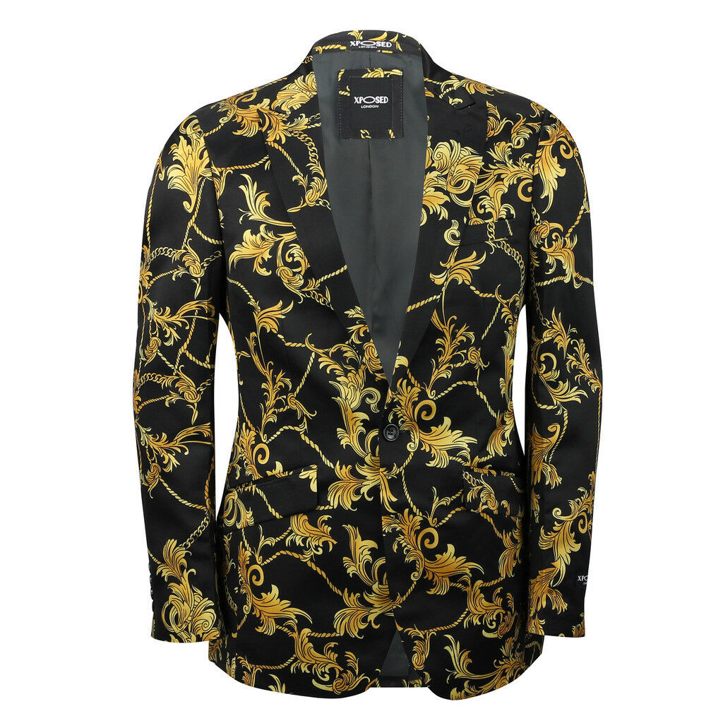 Para Hombre Negro Dorado Brocado Floral Print Ajustada Blazer diseñador  italiano Traje Chaqueta  mejor vendido