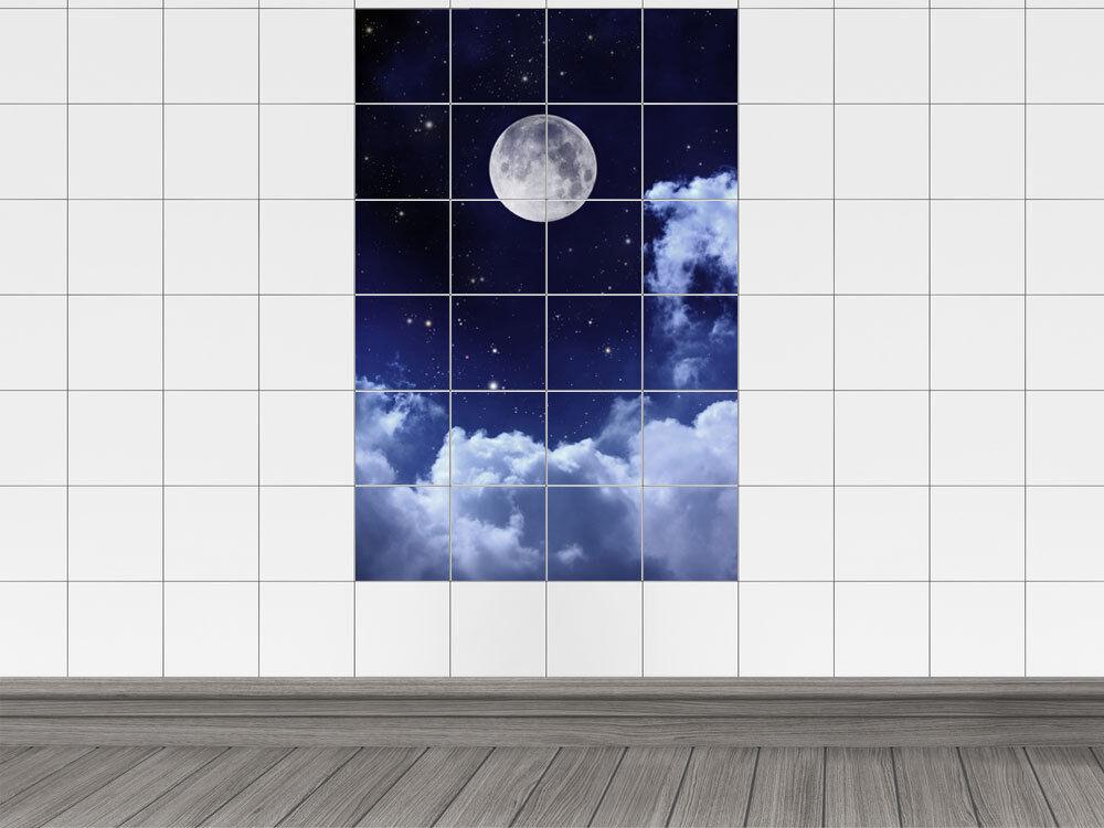 Fliesenaufkleber Fliesenbild Mond Nacht Sterne Himmel Halbmond Bad Küche