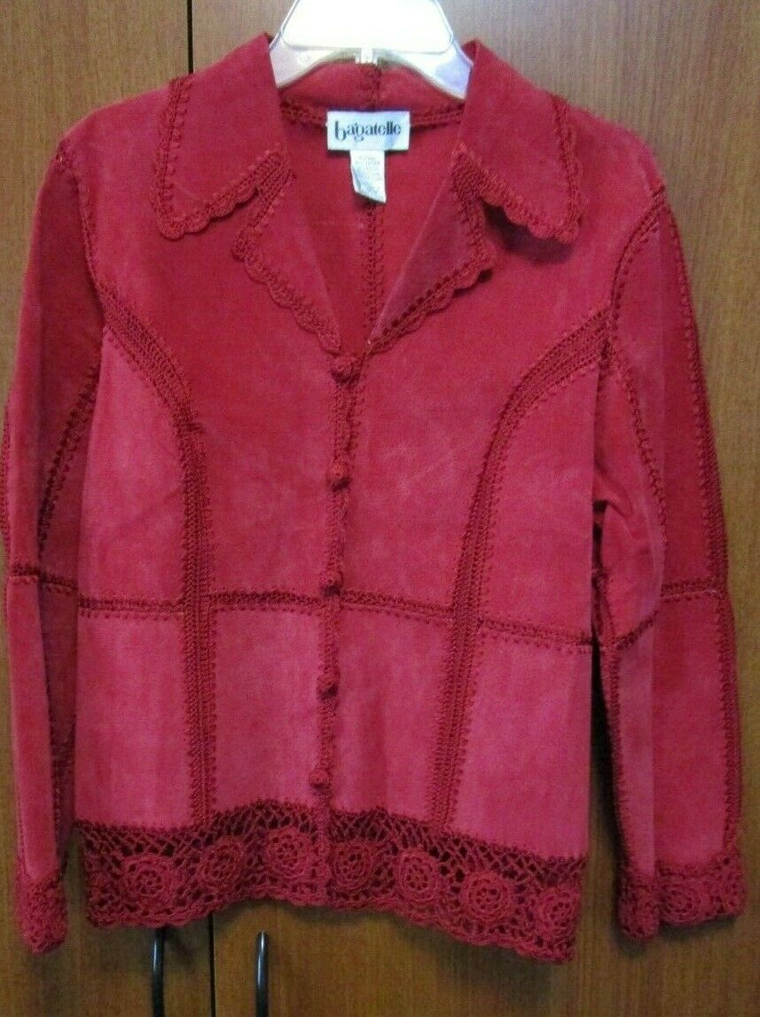 Bagatelle Red Leather Suede Jacket Sz Medium Button Front Bust 41 Length 24 in