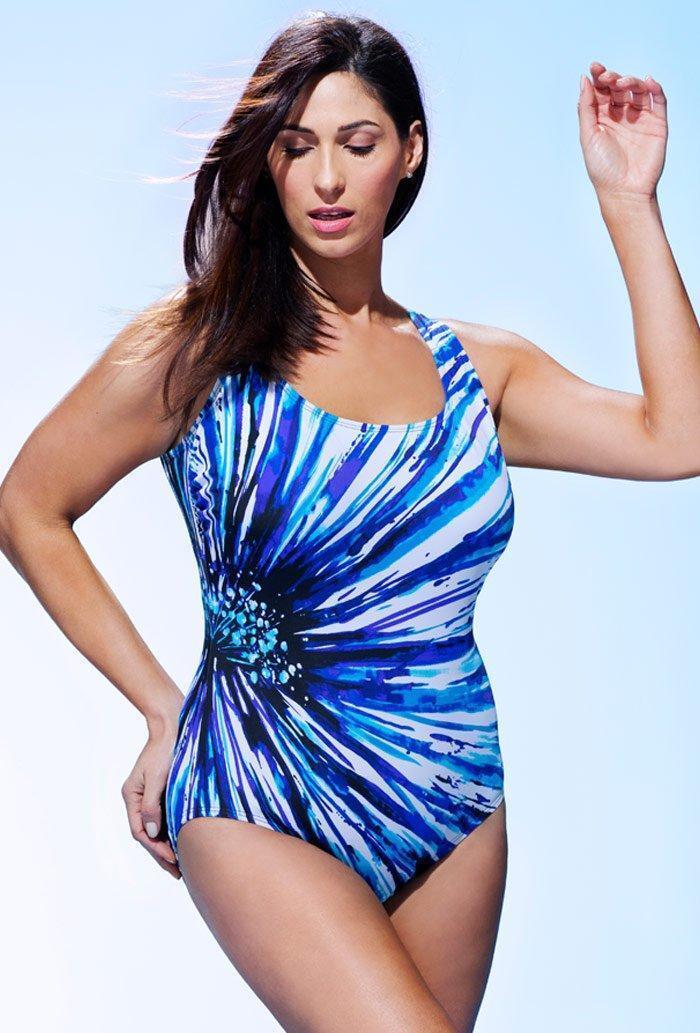 LONGITUDE® 14, 16 bluee Radiant Tank Swimsuit NWT