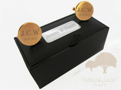 Incisa Round Rose Gold Gemelli & Scatola Regalo Personalizzato Best Man Rgclr 10-