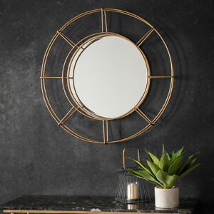 thorne large industrial gold metal frame round antique style wall mirror 82cm 5055999228206 ebay. Black Bedroom Furniture Sets. Home Design Ideas