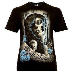Rock-Eagle-Herren-T-Shirt-Schwarz-Santa-Muerte-with-Lettering-Halloween-Skull