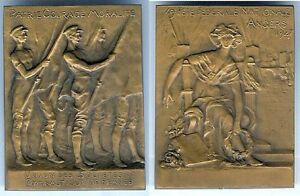 Medaille-de-table-ANGERS-1927-49-fete-federale-gymnastique-par-GREGOIRE-boite