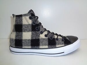 db4ea99f9260bc Converse Size 7.5 WOOLRICH White Black Wool High Top Sneakers New ...