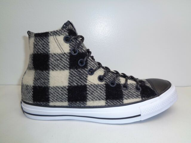 7f3e8a6a56bb26 Converse Size 8.5 WOOLRICH White Black Wool High Top Sneakers New Womens  Shoes