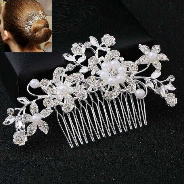 4 VINTAGE PEARLS /& CRYSTAL FLOWER HAIR PINS GRIPS SLIDES TIARA WEDDING BRIDAL