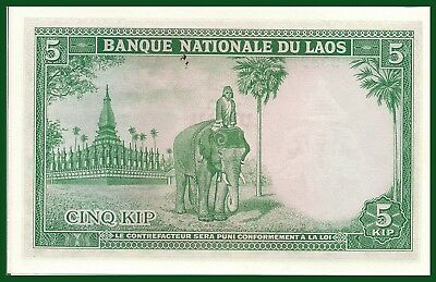 Laos P-9b 5 Kip Year ND 1962 Elephant Uncirculated Banknote