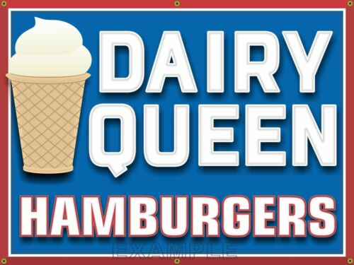 DAIRY QUEEN HAMBURGER RESTAURANT DRIVE-IN OLD SIGN REMAKE BANNER ART 3' X 4'