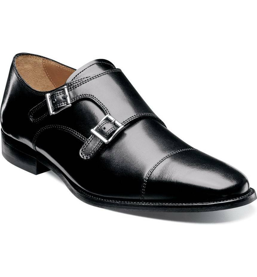 Zapatos De Vestir hecho a mano para Hombres de Cuero Negro Puntera Monje Zapatos, Para Hombre Zapatos Para Hombres Formal