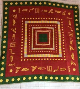 VINTAGE-Archaeform-Museum-of-Berlin-Hieroglyphs-34-034-Square-Silk-Scarf-HTF
