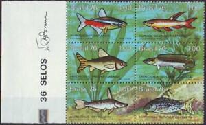 "Brasilien: MiNr. 1545 - 1550, 12.07.1976, ""Süßwasserfische"", Sechserblock, Rand,"