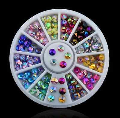12 Color 3D Nail Art Tips gems Crystal Glitter Rhinestone DIY Decoration Wheel