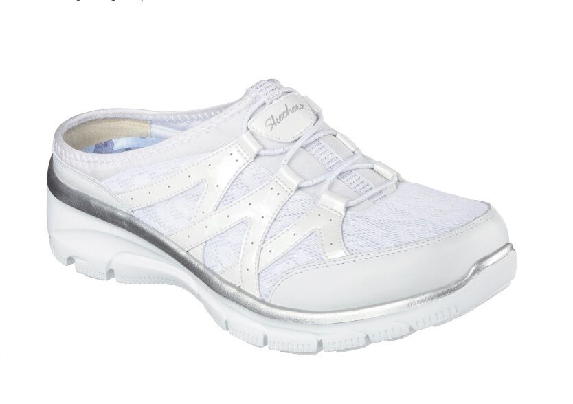 Women's Skechers Mule - Easy Going-Repute - White/Silver - New!!!