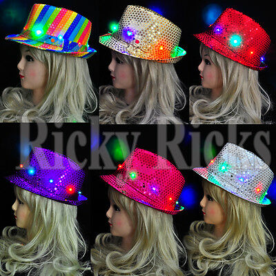 LED Fedora Hat Light-Up Sequins Mens Womens Kids Black Novelty Party Accessories