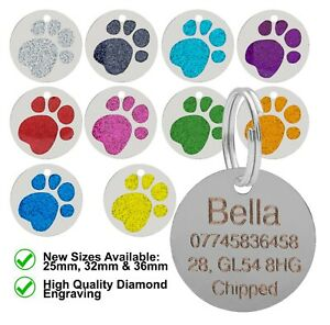 Dog-Cat-Pet-ID-Tag-Glitter-Collar-ID-Tags-Personalised-Engraved-Round-Paw-Print