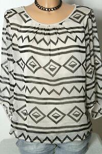 comma-Bluse-Gr-34-schwarz-beige-3-4-Arm-A-Linie-Muster-Chiffon-Bluse