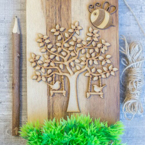 MDF Bird Family Tree Set Kit with Tree Hearts Banner and Word GRANDCHILDREN