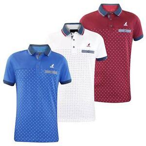 Men-T-Shirt-Kangol-Polo-Shirt-Pocket-Collar-Dot-Print-Summer-T-shirt-Tee-Top