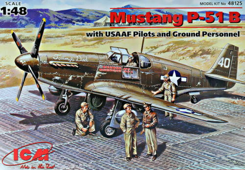 ICM 48125 P-51B with USAAF Pilots and Ground Personnel 1//48 plastic model kit