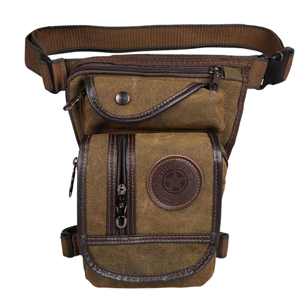 New Men/'s Leather Drop Leg Drop Riding motorcycle leg bag Hip Belt Waist Bag