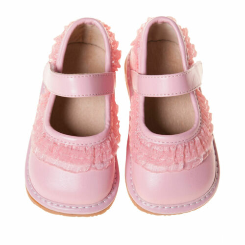 Girl/'s Leather Toddler Light Pink Ruffle Squeaky Shoes Sizes Available 1 to 7