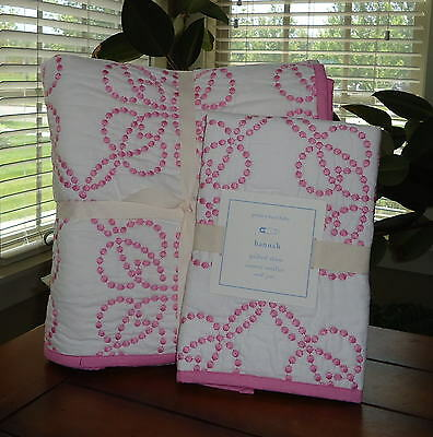 Pottery Barn Kids Hannah Nursery Bedding 3 Pc Set Quilt Fitted & Sham Pink NWT