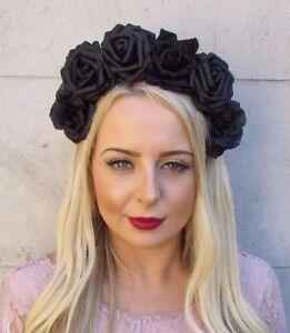 image is loading large black sugar skull rose flower headband halloween