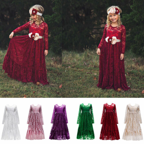 Girls Kids Toddler Long Sleeve Lace Dress Party Wedding Flower Girl Dress ZG8