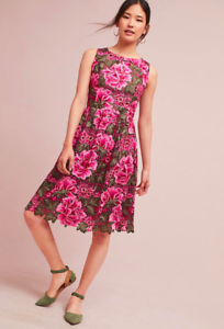 NWT  Anthropologie Lalia Lace Dress Rosa Flowers by Eri + Ali Größe 6 Petite