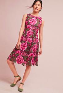 NWT Anthropologie Lalia Lace Dress Rosa Flowers by Eri + Ali Größe 6 Petite
