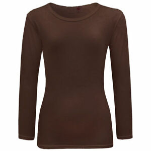 Girl Kids Long Sleeve Crew Neck Plain Brown Top/T-Shirt 7 8 9 10 11 12 13