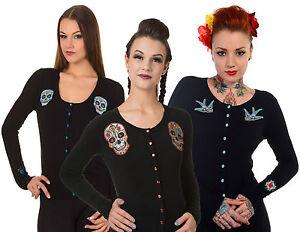 Banned-Sugar-Skull-Swallow-Black-Cardigan-Rockabilly-Retro-Punk-50-039-s-Emo-Pinup