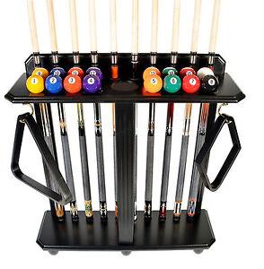 Cue Rack Only - 10 Pool - Billiard Stick & Ball Set Floor - Stand Black Finish