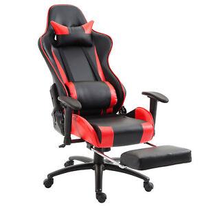 Sedia Ufficio F1.Dettagli Su Vinsetto Poltrona Ufficio Ergonomica Sedia Gaming Con Poggiapiedi Rosso